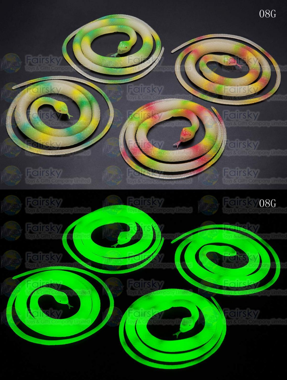"42"" GLOW TH THE DARK PVC SNAKE BISCUIT 2 STYLES, 4 COLORS"