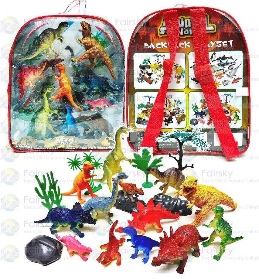 """Set of 20pcs 2.5""""-5"""" PVC Dinosaurs with Accessories in Backpack"""