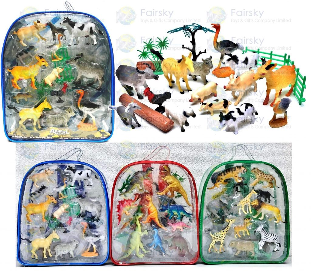 """Set of 20 pcs 2.0""""-4.0"""" PVC Farm animal with accessories in backpack"""