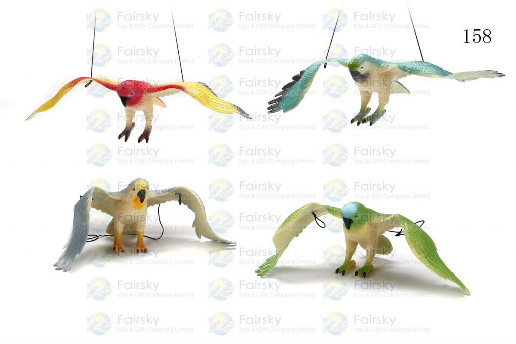 """13"""" PVC COLORFUL PARROT W/STRING, 1 STYLE, 4 COLORS"""