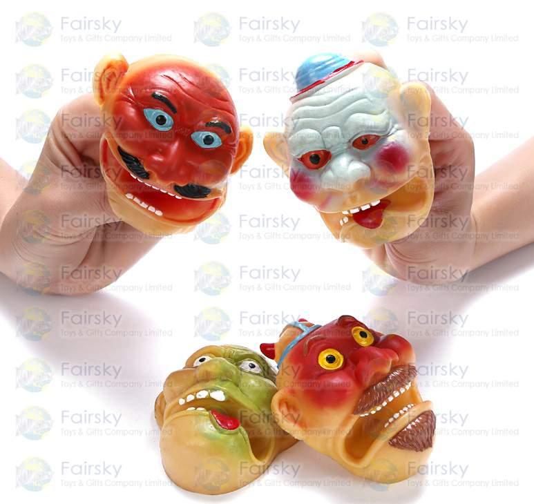 """3.25"""" PVC Clown Head Finger Puppet"""