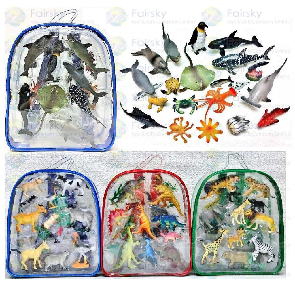 "Set of 20pcs 1.5""-5"" PVC Ocean Animal in Backpack"