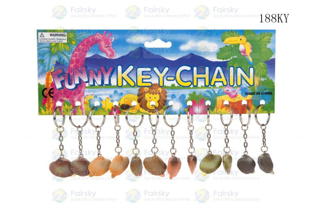 """1.25"""" PVC SHELL W/KEYCHAIN, 1 STYLE, 6 COLORS"""