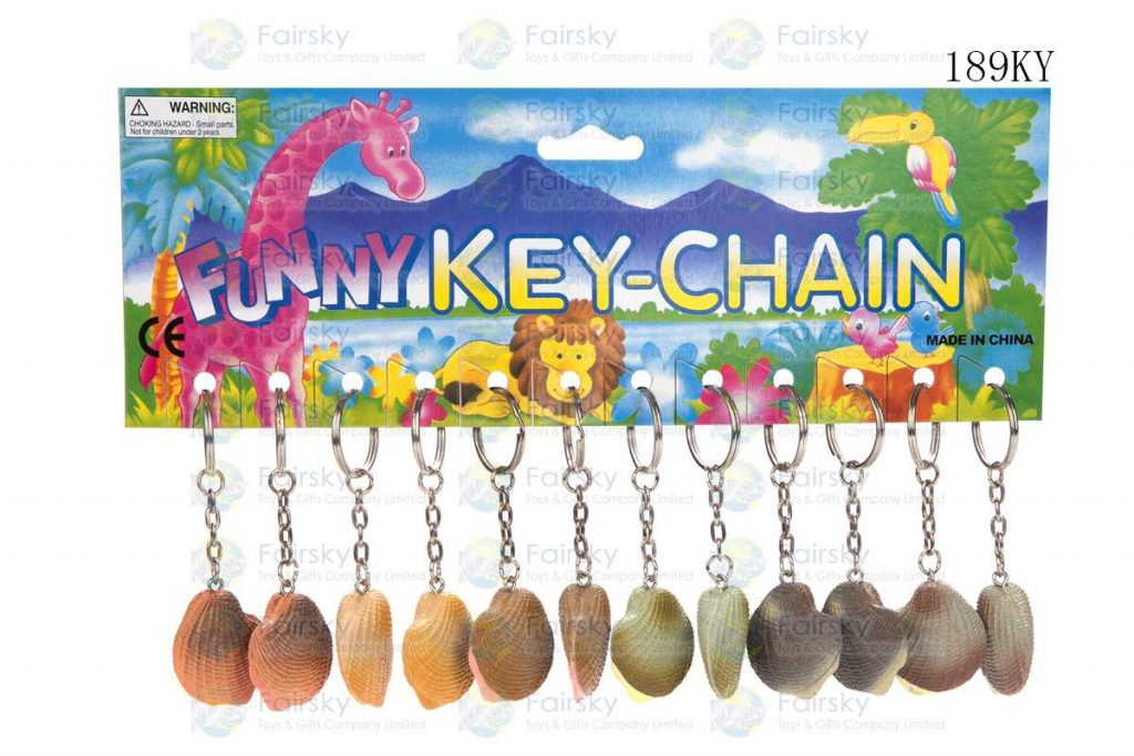 """1.5"""" PVC SHELL W/KEYCHAIN, 1 STYLE, 6 COLORS"""