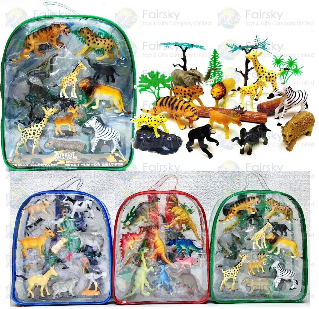"""Set of 20 pcs 2.0""""-4.5"""" PVC Wild animal with accessories in backpack"""