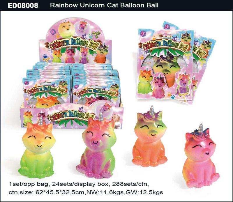 Rainbow Unicorn Cat Balloon Ball