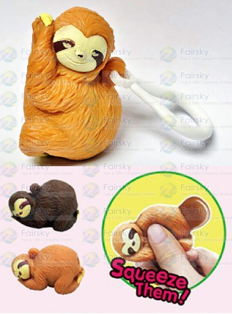 Squeeze Poo Sloth Keychain