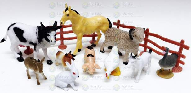 Set of 12pcs PVC Farm animals with Tree