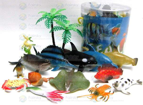 Set of 15pcs Ocean animals with Tree