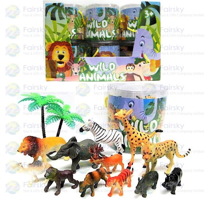 Set of 13pcs Wild animals with Tree