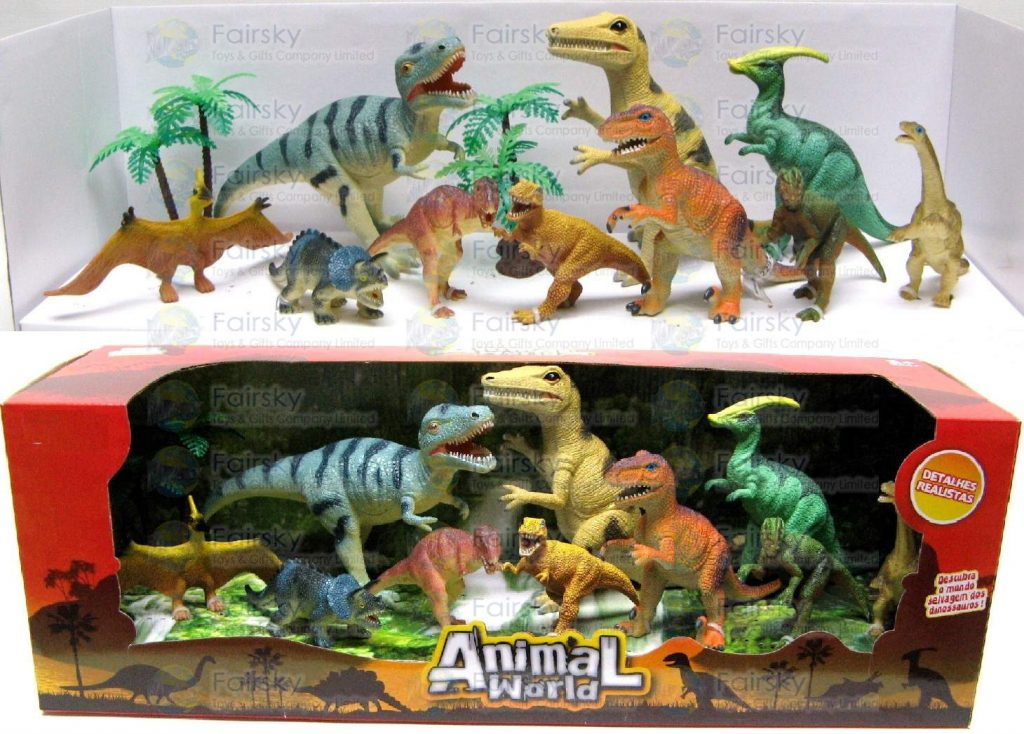 "Set of 12pcs 4""-8"" Dinosaurs with Palm Tree"