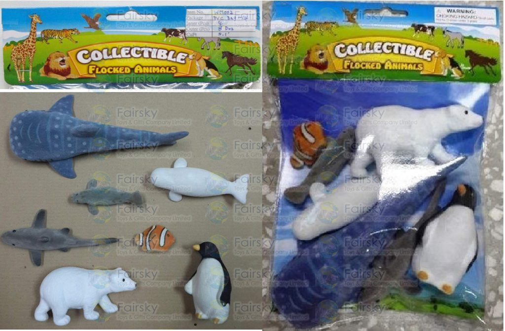 7pcs Flocked Ocean Animals